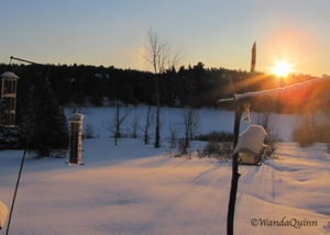 photo of sunrise on snowy morning