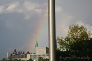 picture of rainbow over peace tower, ottawa, on