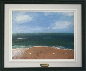 picture of a painting of sky, ocean, beach