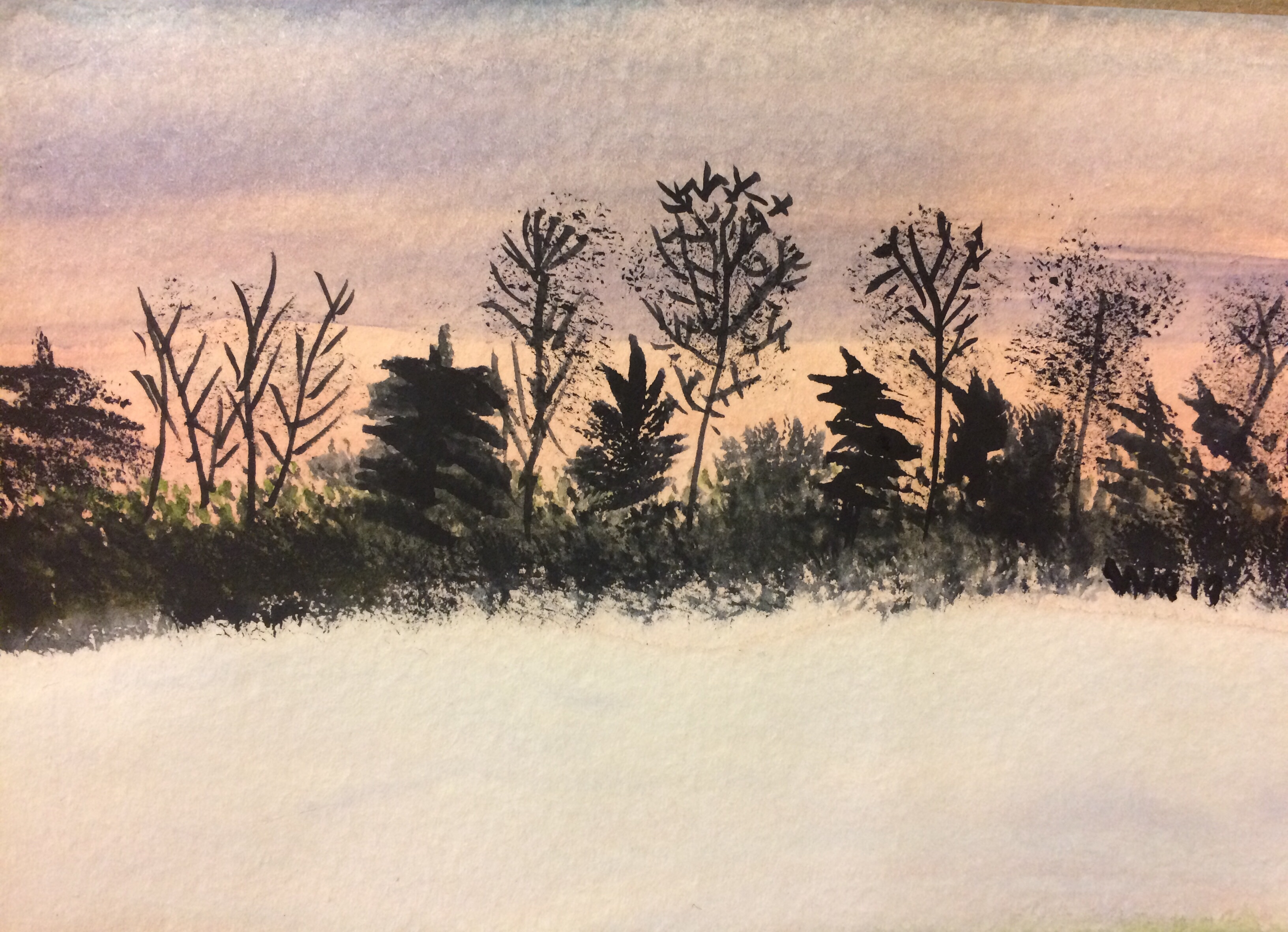watercolour painting of sunset with trees silhouetted in background