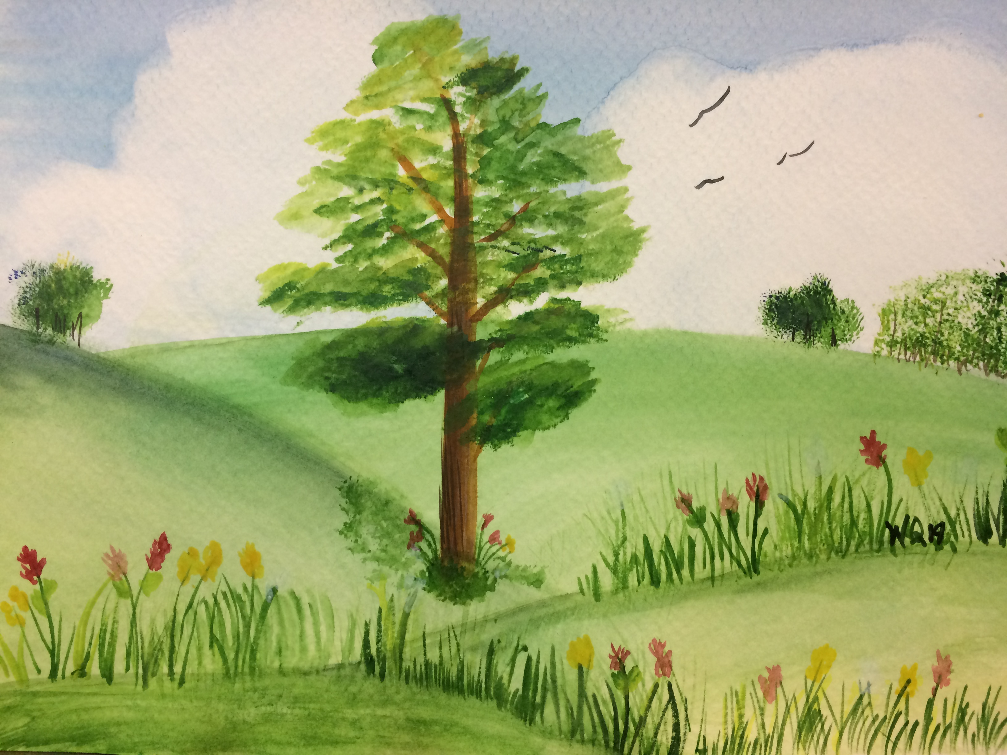 watercolour painting of landscape with trees, hills, grass and birds.