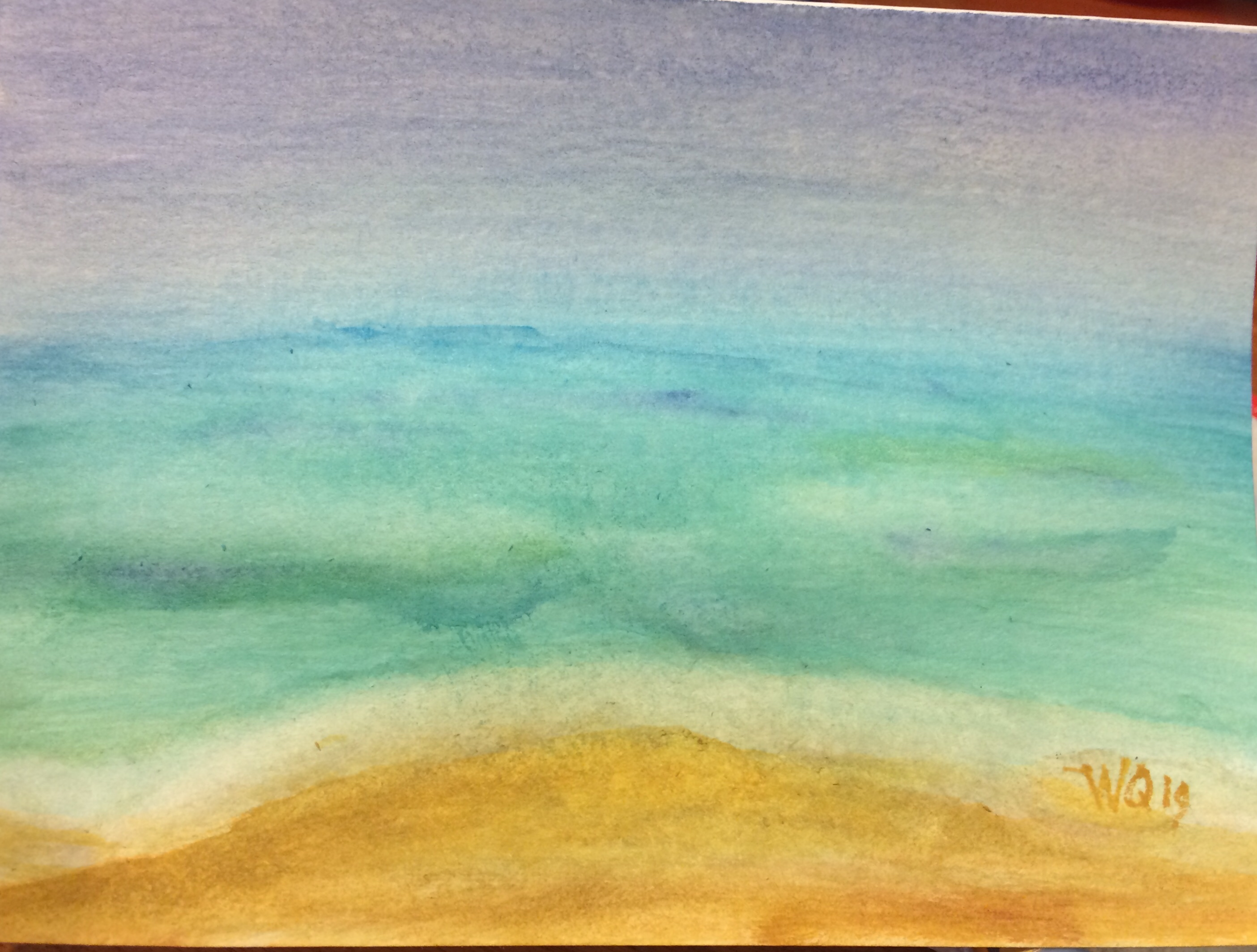 watercolour painting of sky, ocean, and beach