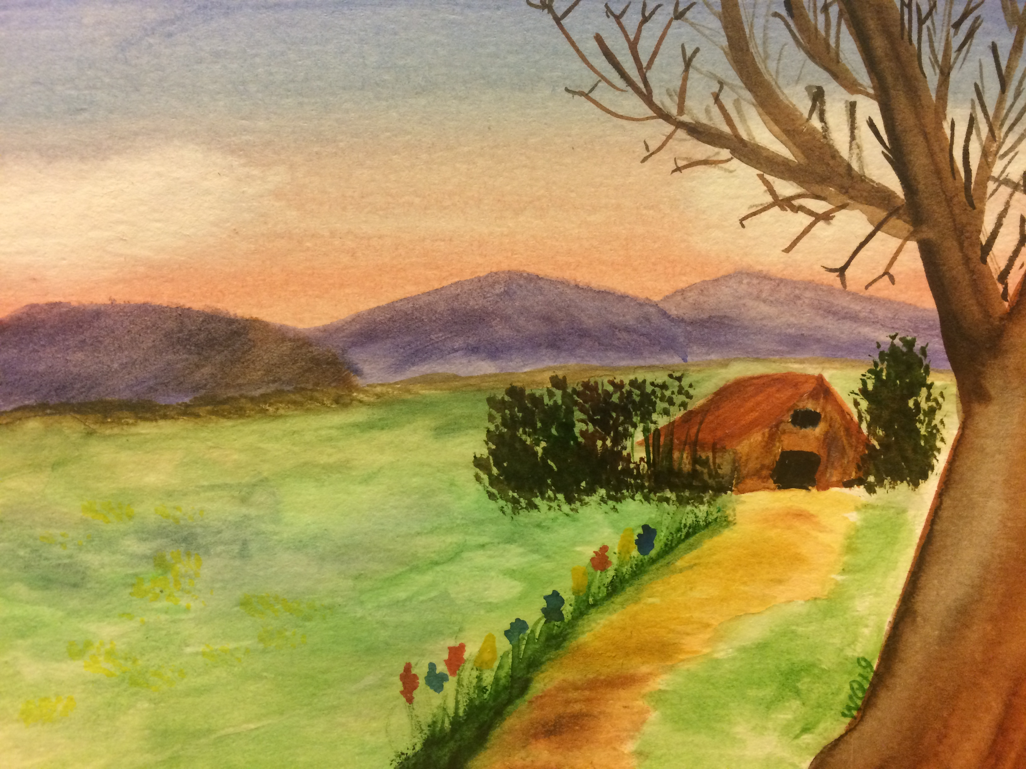 watercolour painting landscape, sunset, mountains, barn and tree