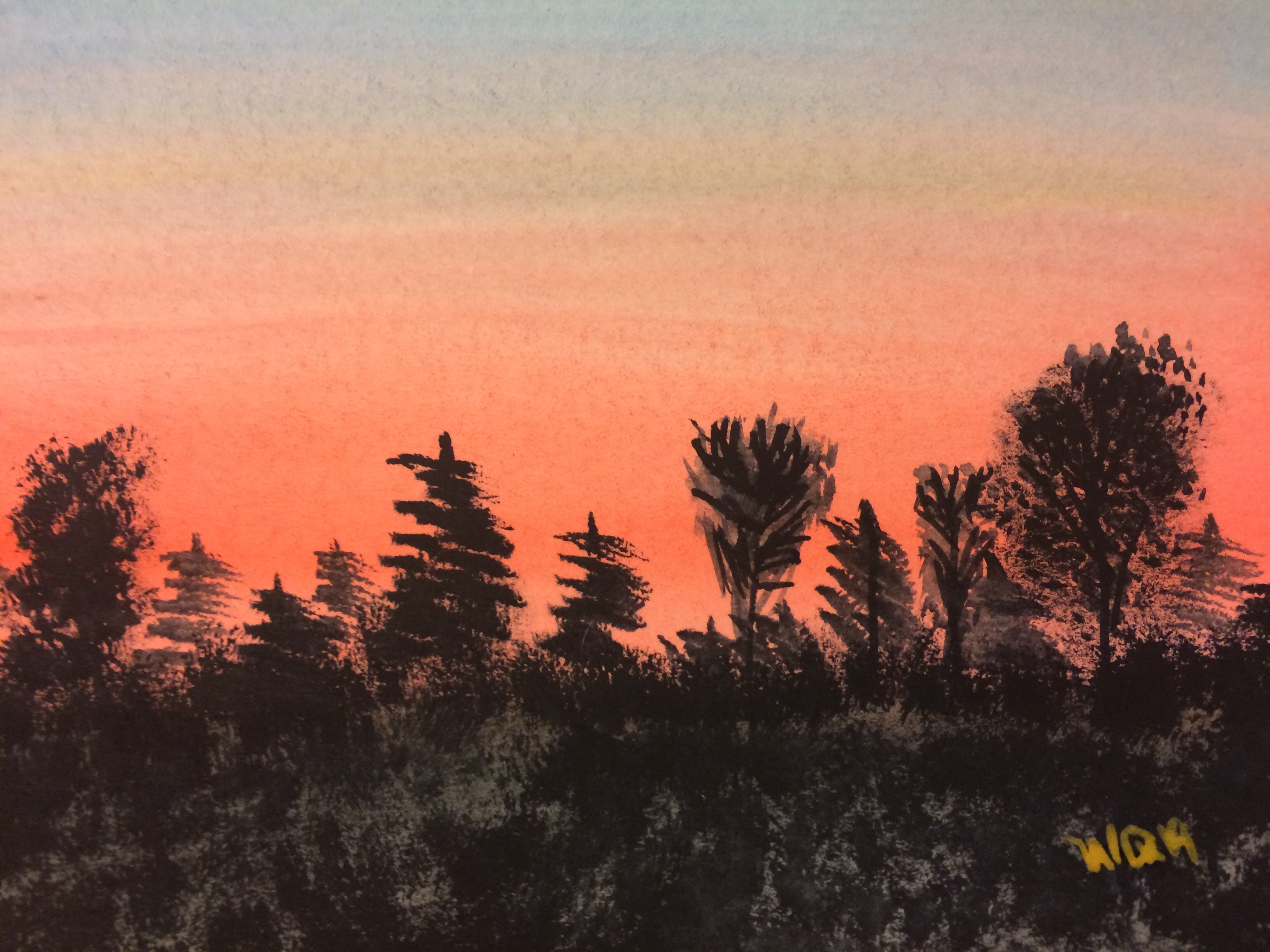 watercolour painting of trees silhouetted against a red sky at sunset