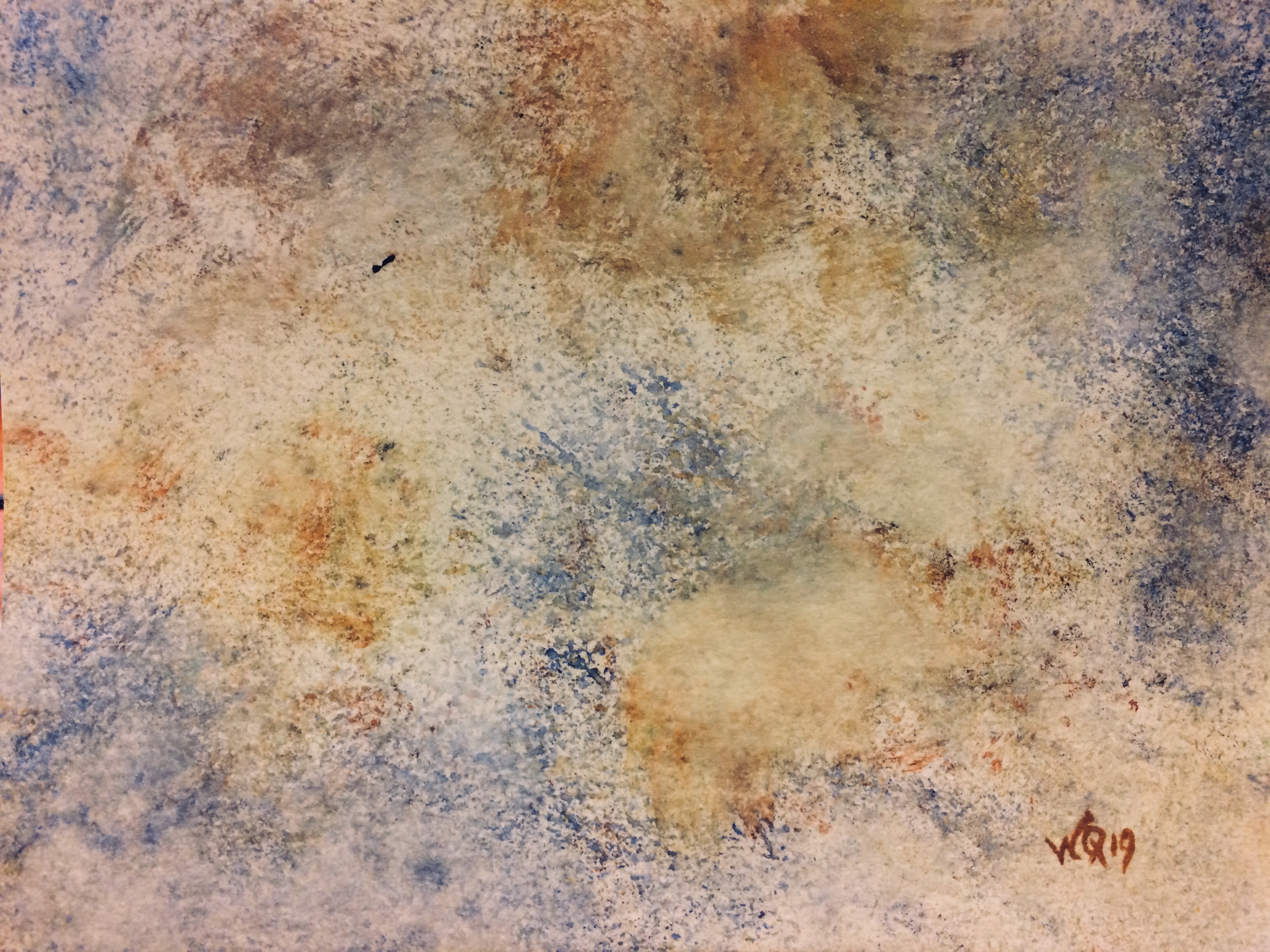 watercolour painting with sponges, blues, browns, beiges.