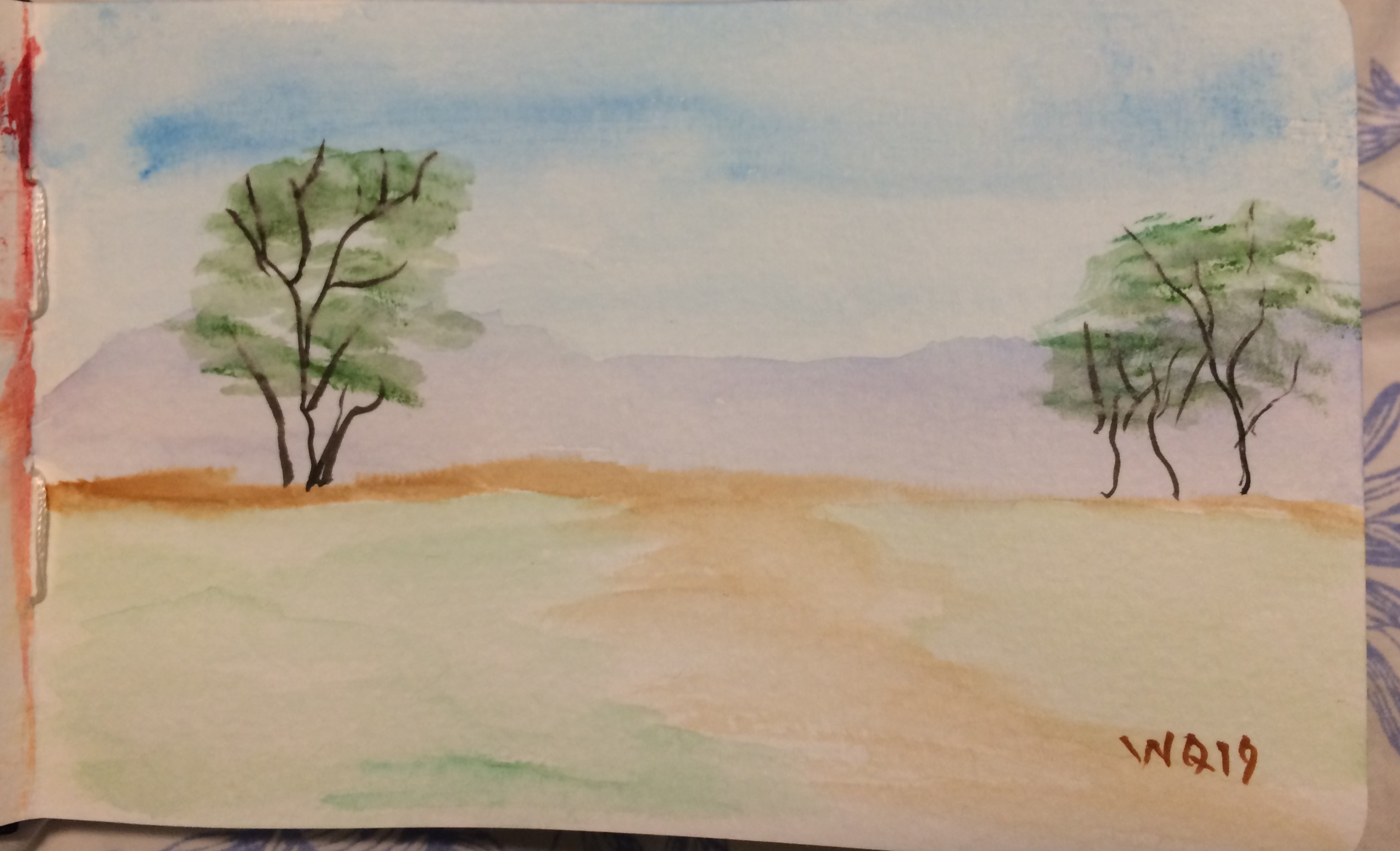 watercolour painting landscape sky, mountains and trees.