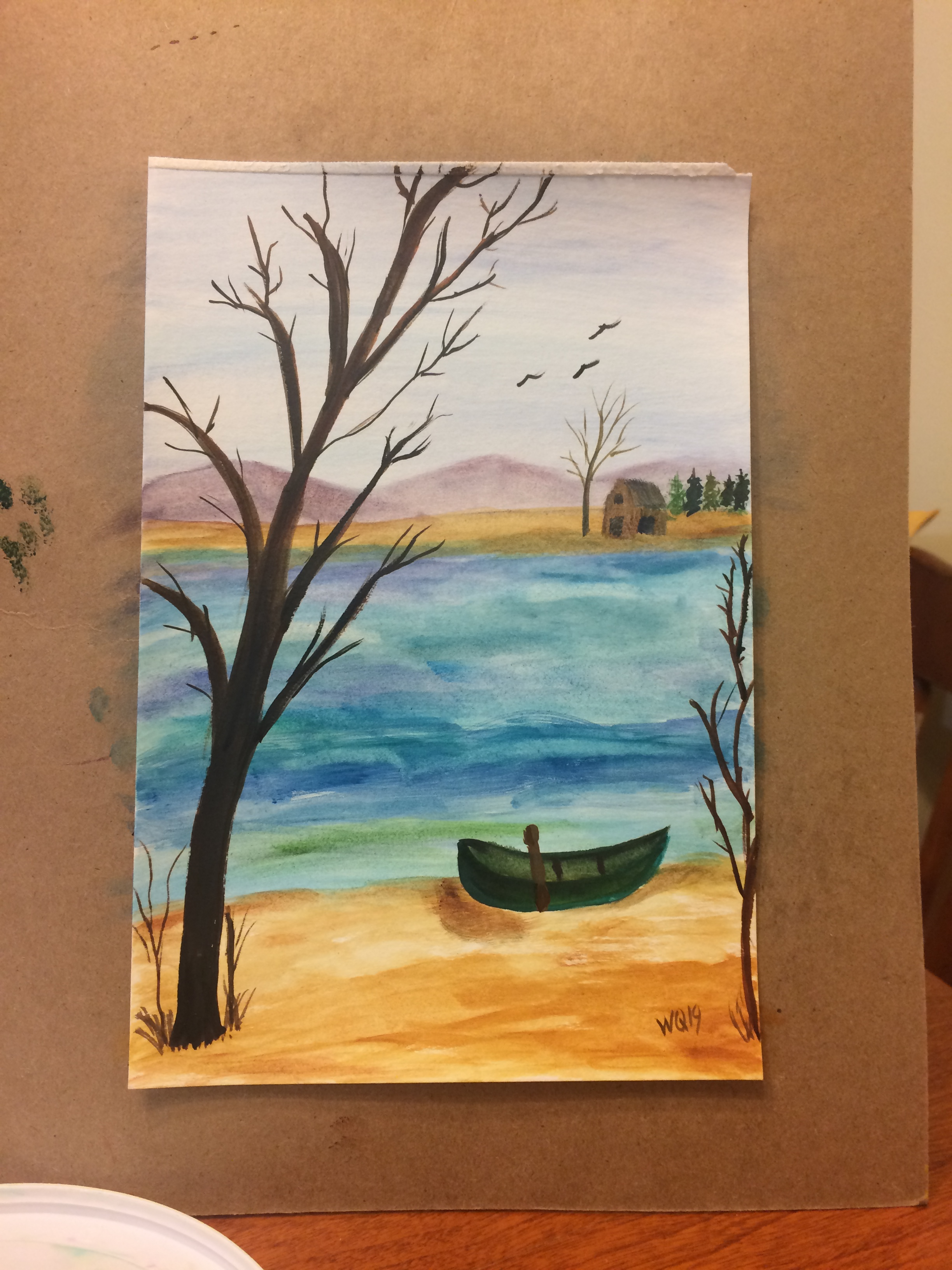 watercolour painting, landscape: boat on shore with tree. cabin across the river.