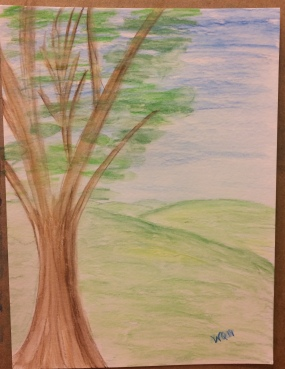 watercolour (pencils) landcape of rolling green hills and a tree in the forefront