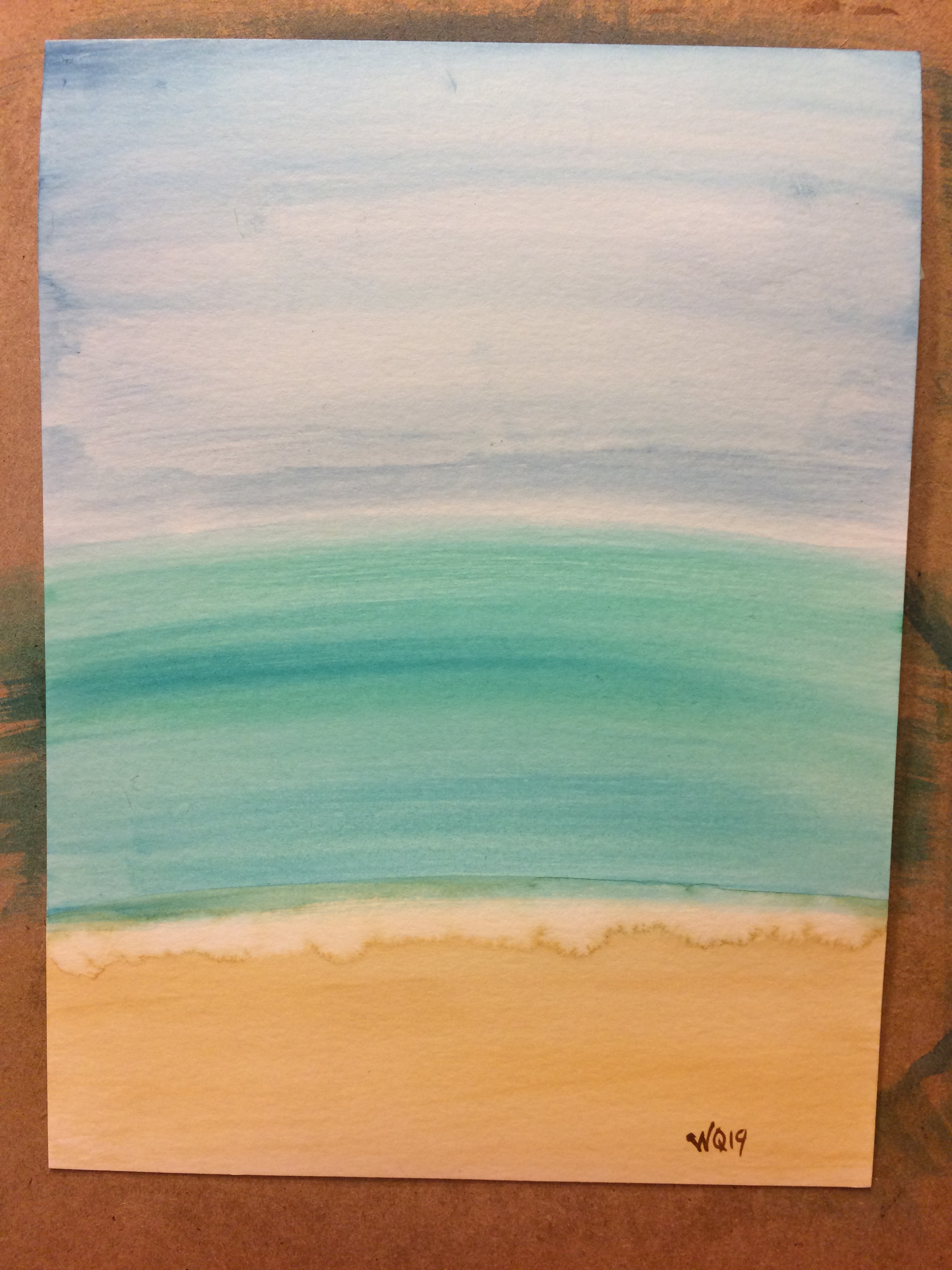 watercolour painting of sky, ocean, beach
