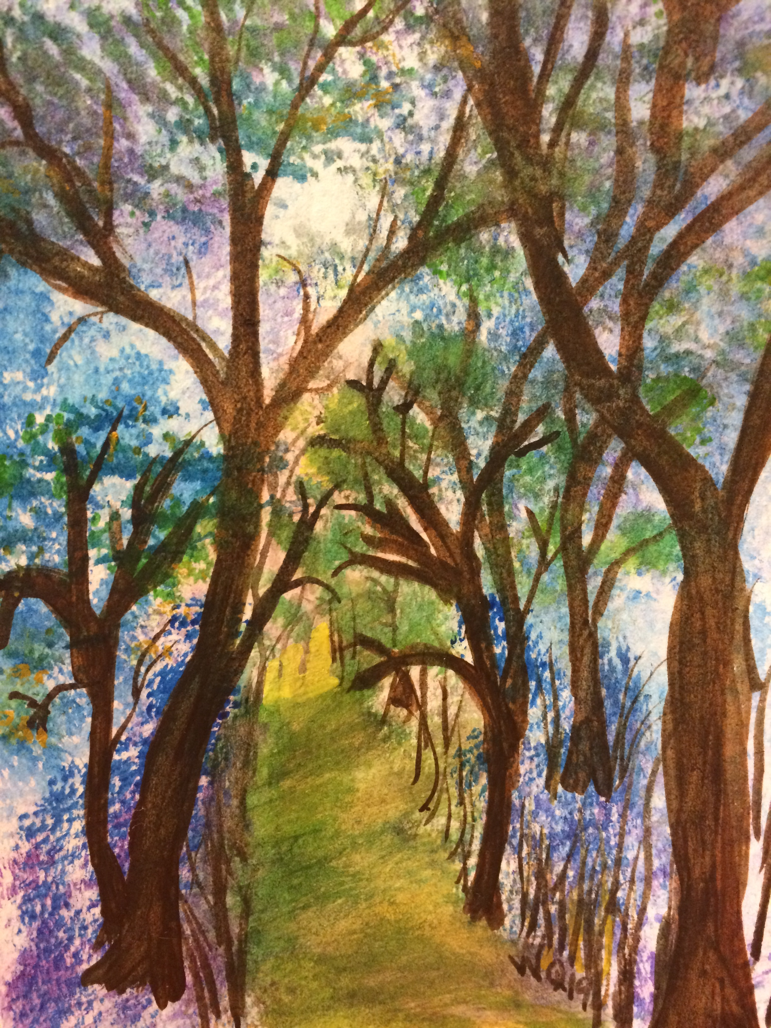 watercolour painting of trees and a path into a forest