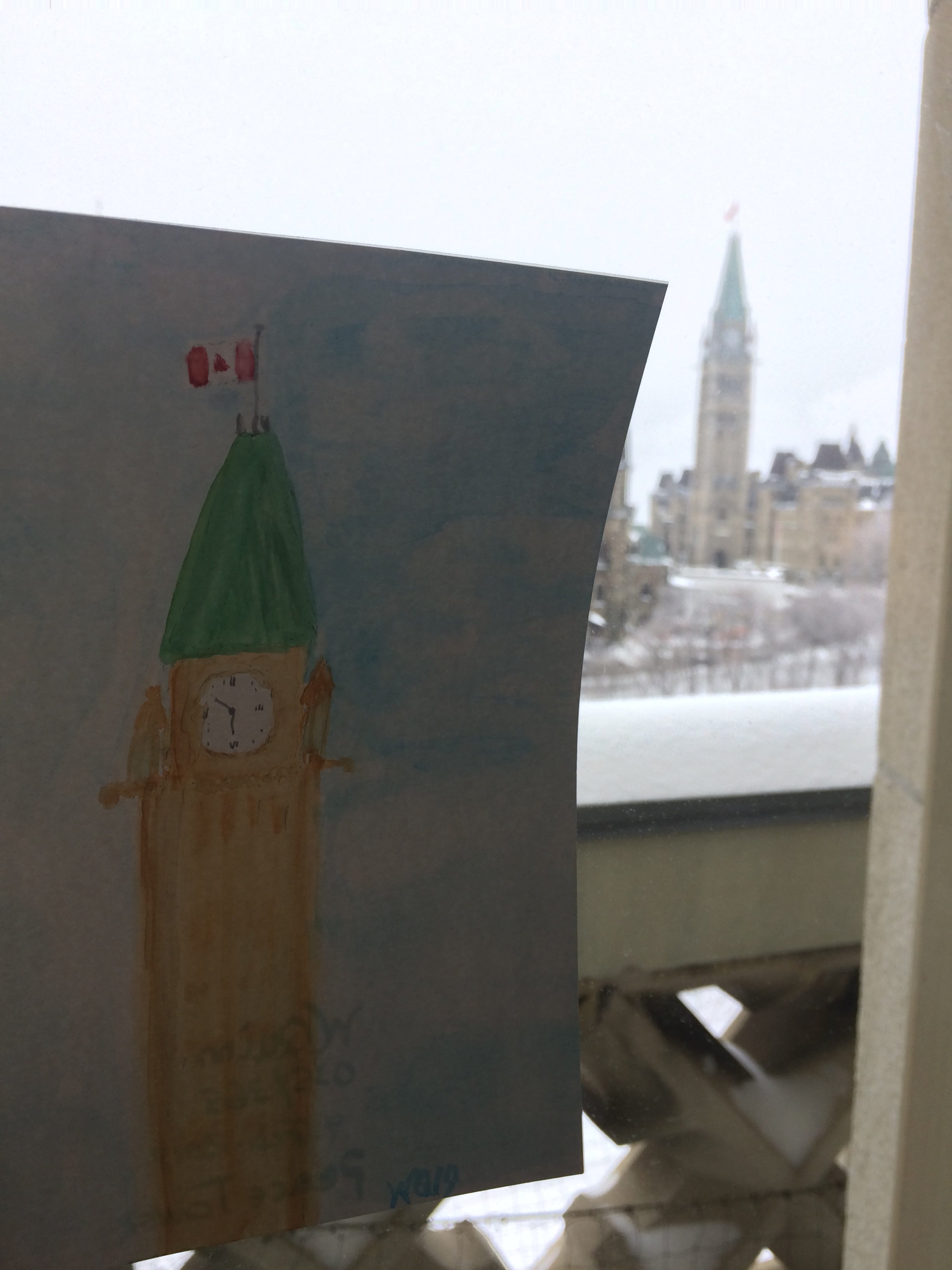 watercolour painting of the peace tower, next to the peace tower