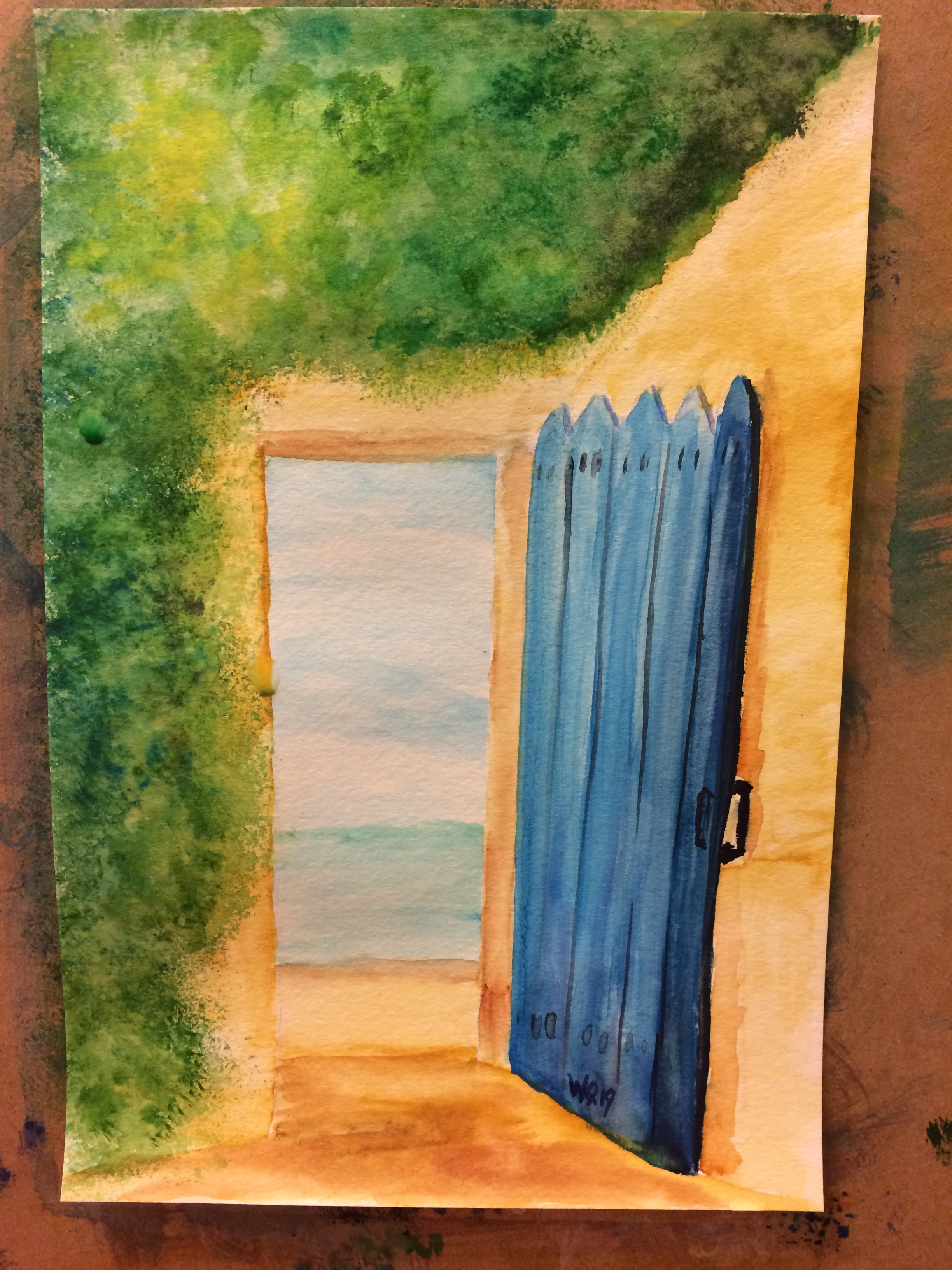 watercolour painting of a Mediterranean-looking wall and doorway, open to the ocean.