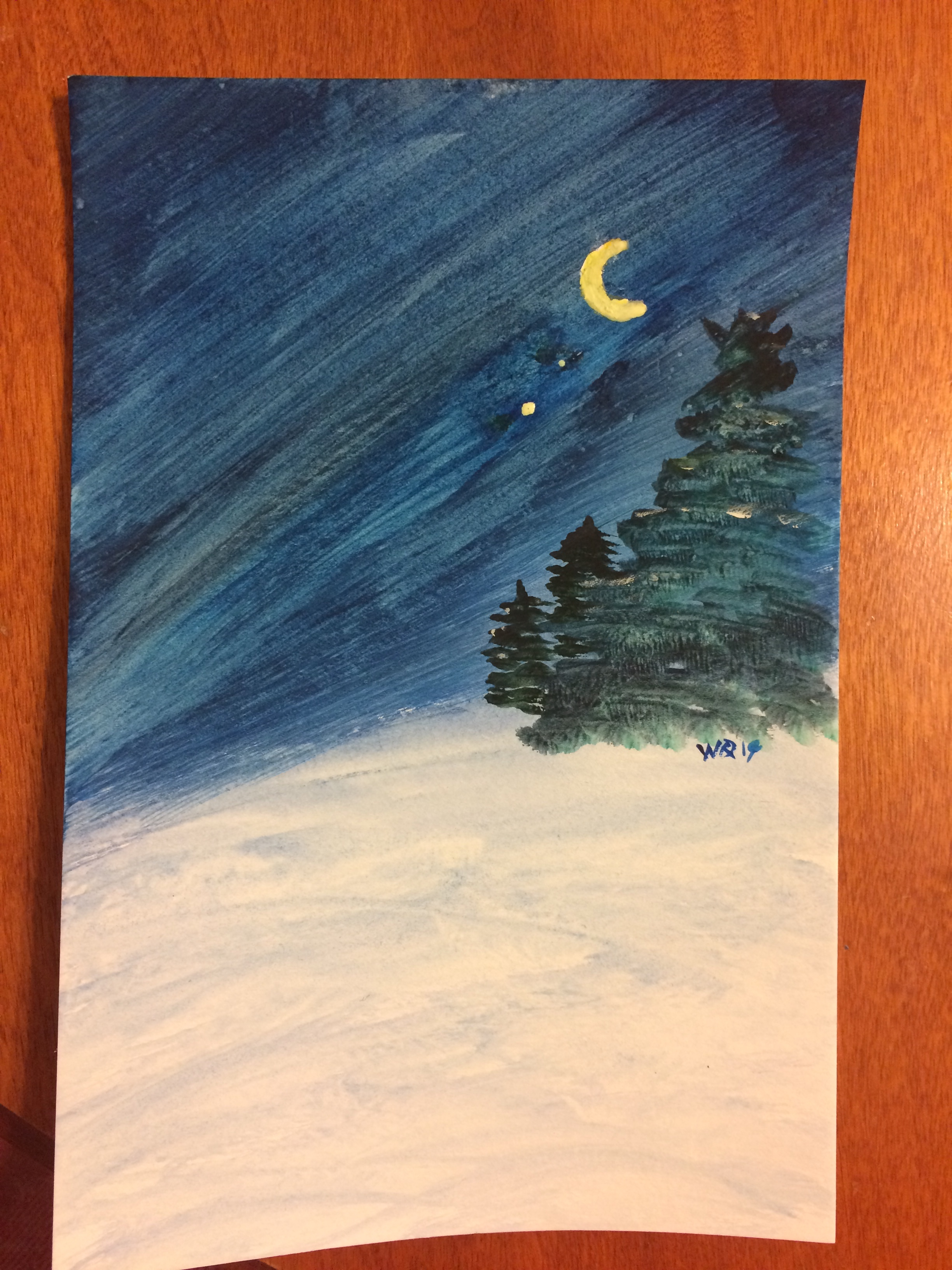 watercolour painting landscape of a winter night with a quarter moon, Venus and Jupiter.