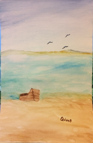 watercolour painting of a beach, sea, land, and a boat on the beach.