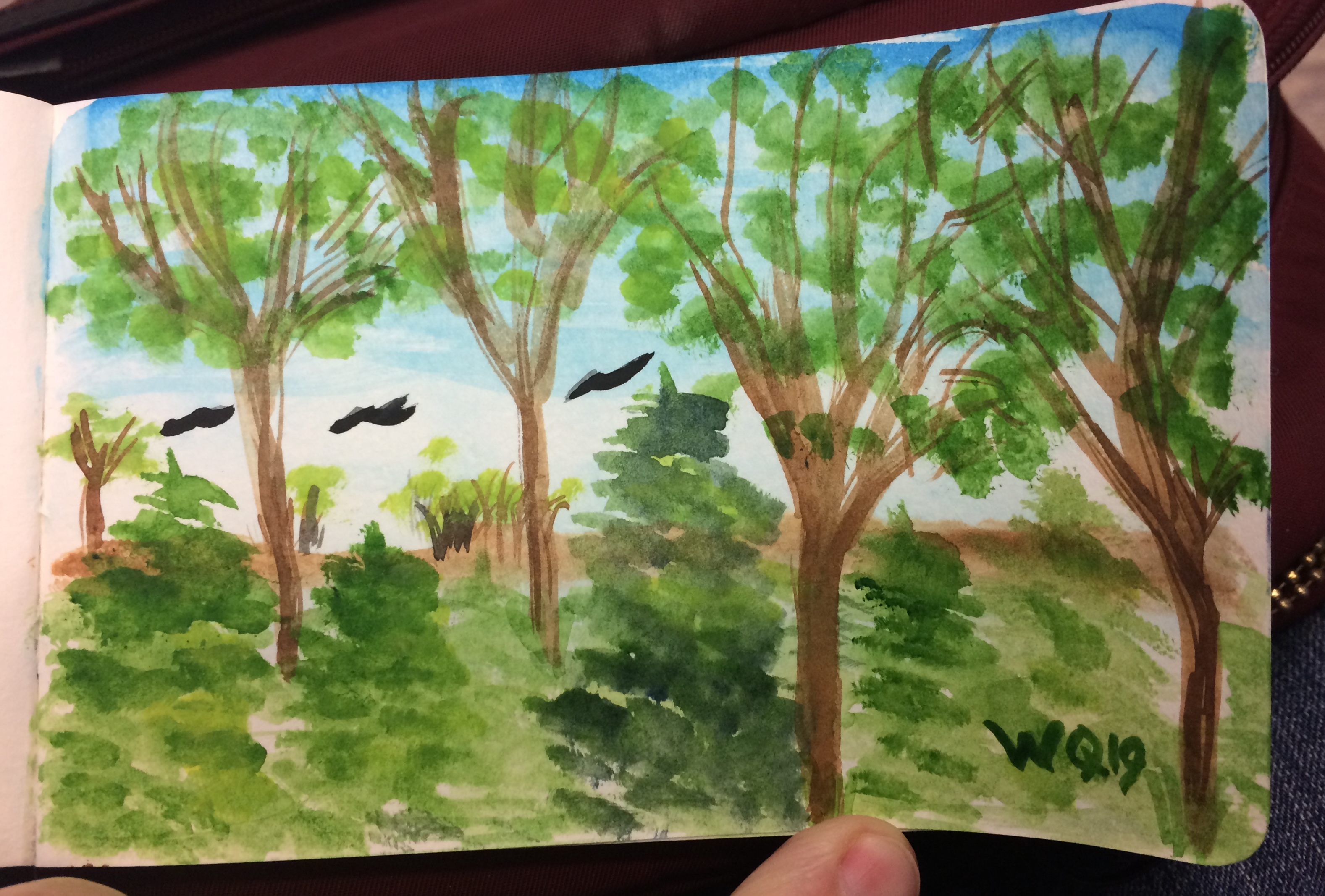 watercolour painting of deciduous and evergreen trees