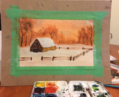 watercolour landscape painting of a barn and fenced in paddock, during sunset with snow on the ground and trees surrounding the property.