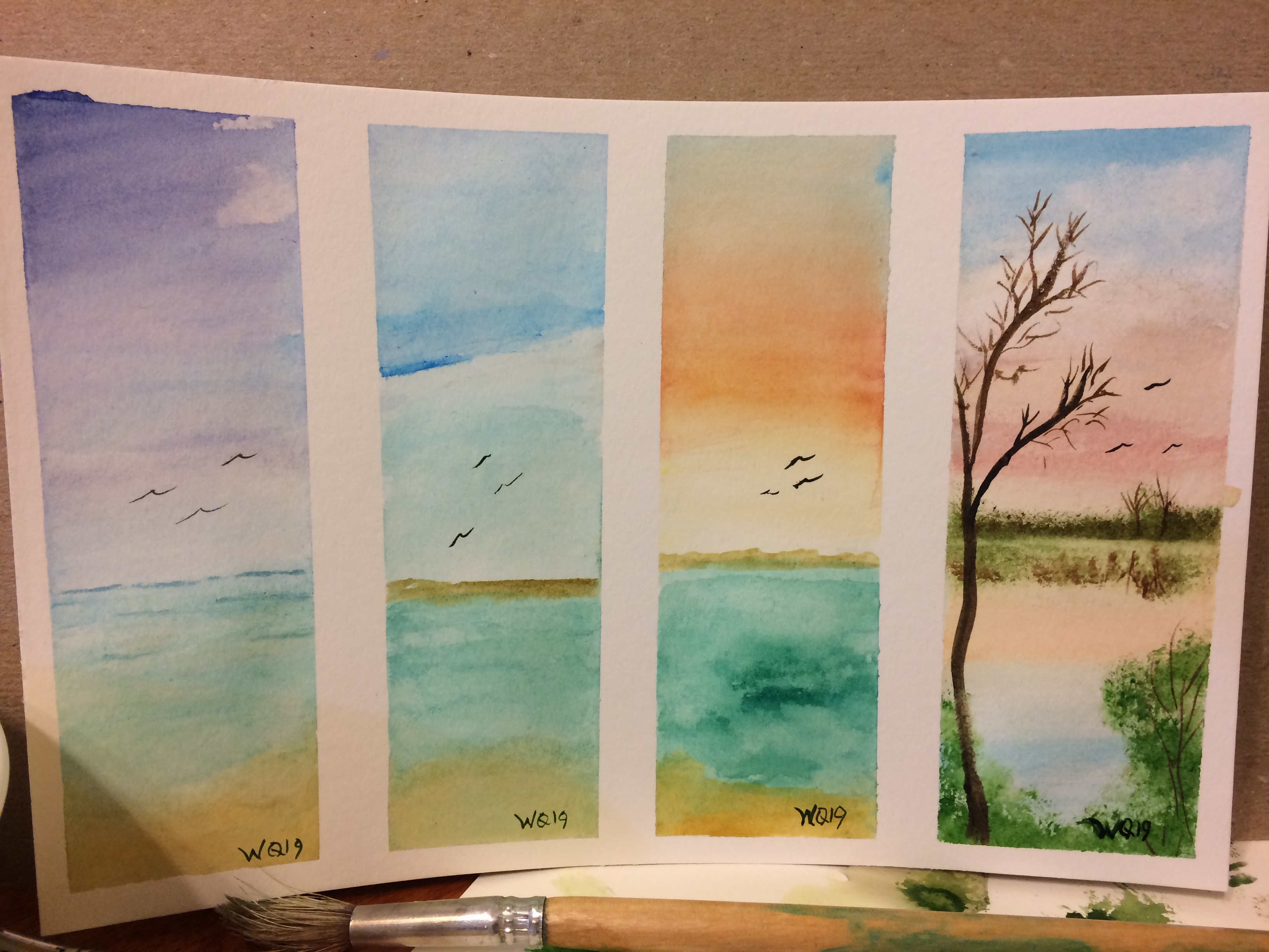 watercolour painting landscape and ocean