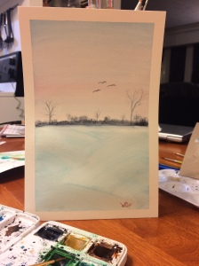 Watercolour painting of pale blue and pink sky and snow