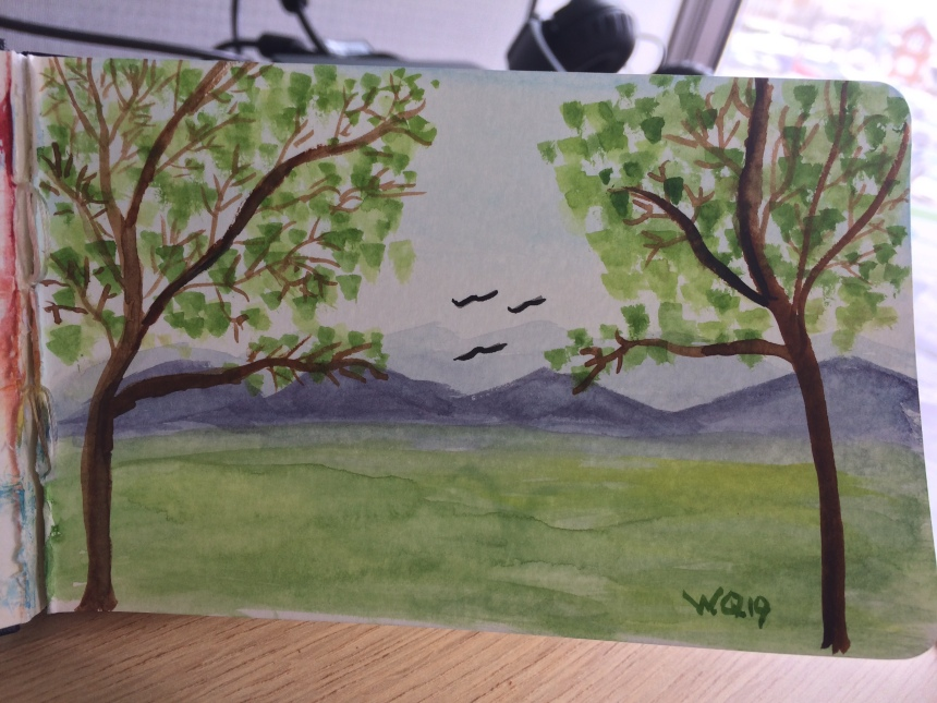 Watercolour painting of landscape of mountains and trees