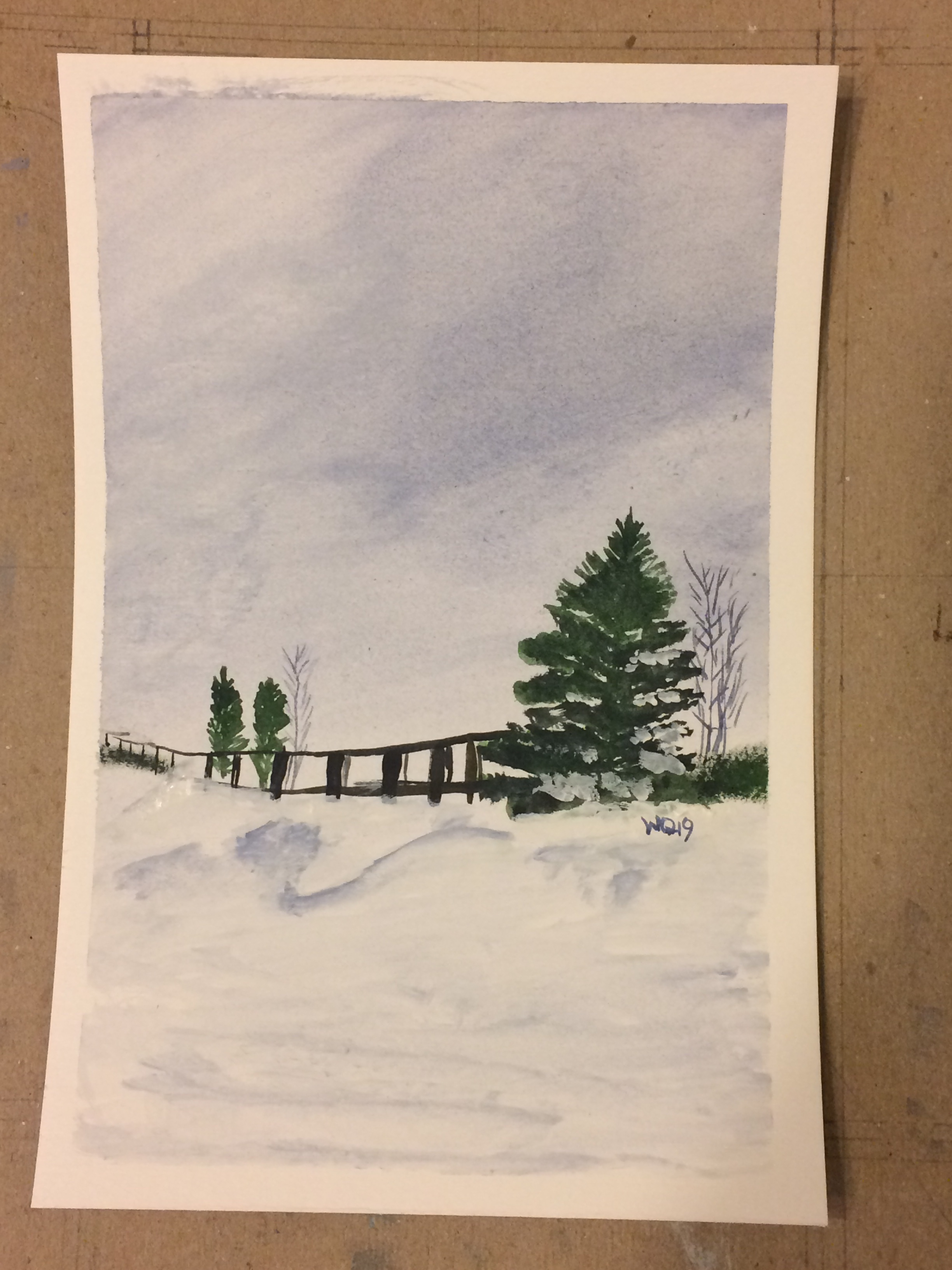 Watercolour painting landscape snow fence and trees