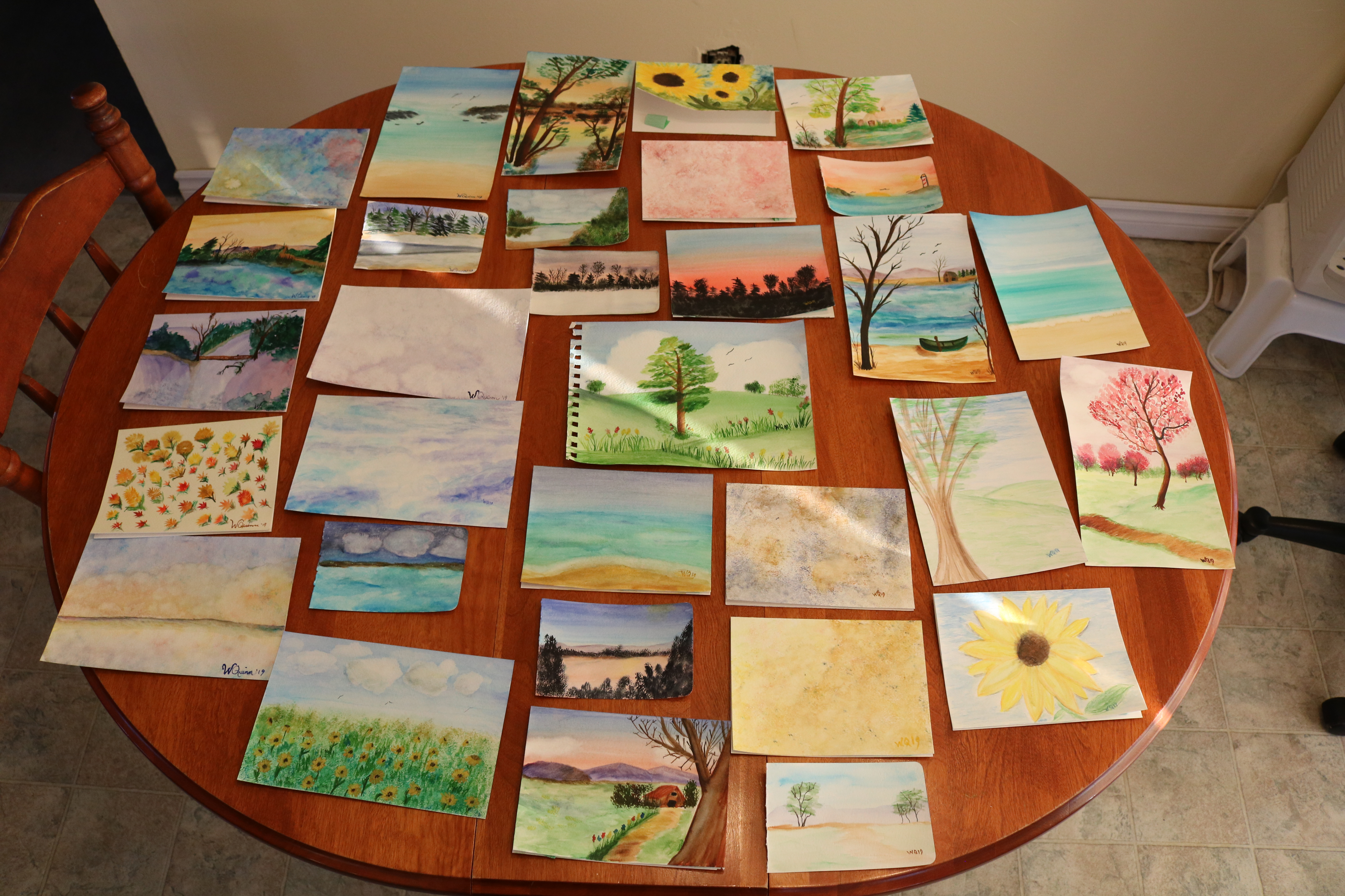 photo of 31 watercolour paintings