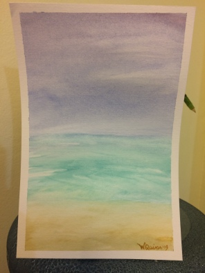 watercolour painting of a purple blue sky with clouds, ocean and beach.