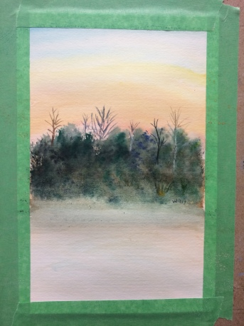 watercolour painting of sunrise and trees.