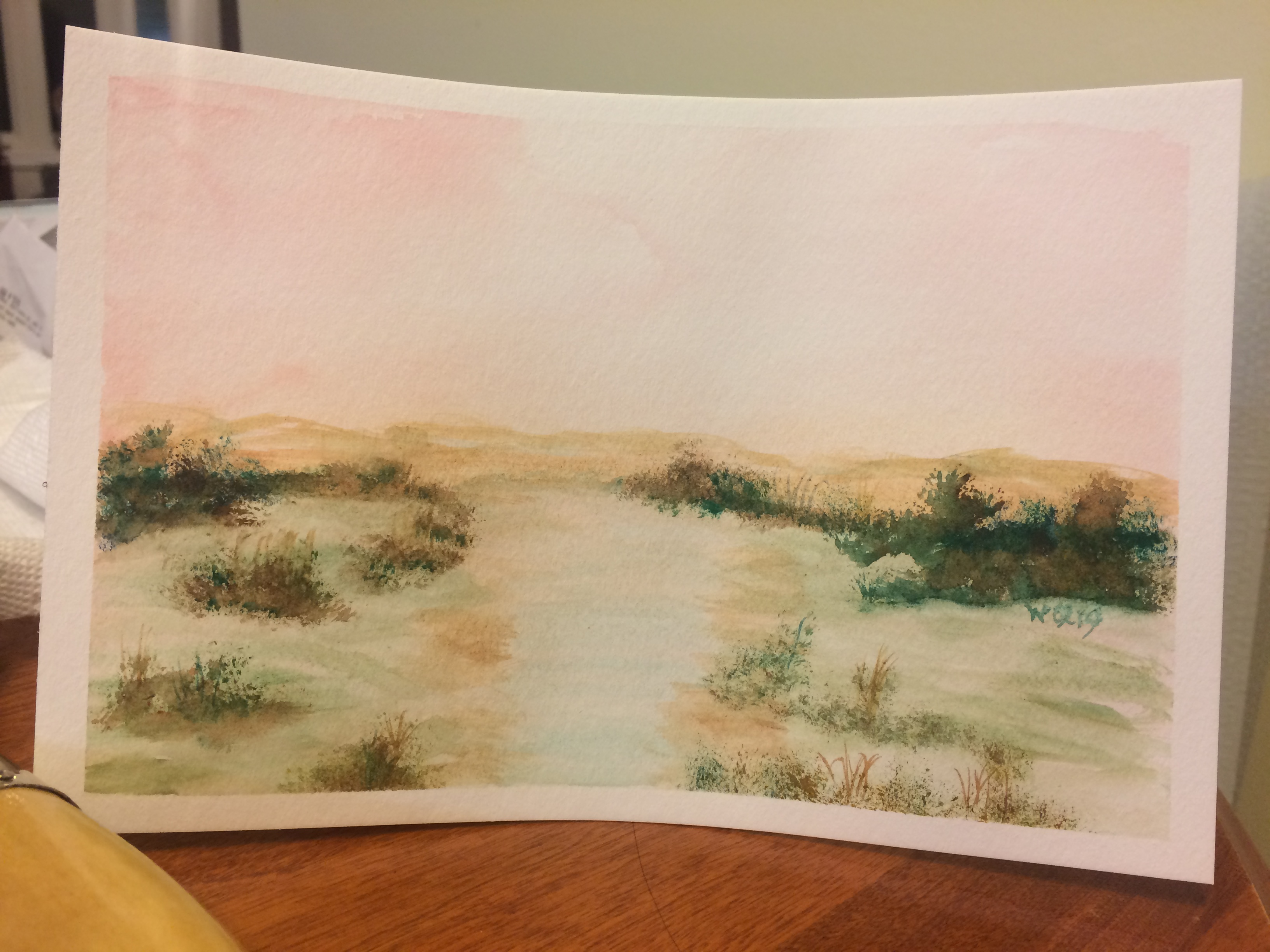 watercolour landscape of a pink sky, small river or stream with highlights from the sky, small bushes.