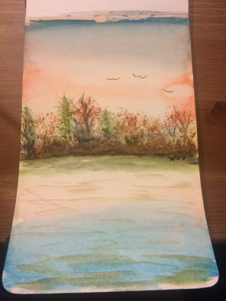 Watercolour painting of sunset and trees