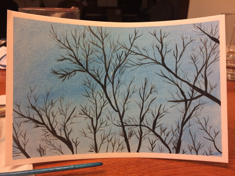 Watercolour painting of branches against a blue sky