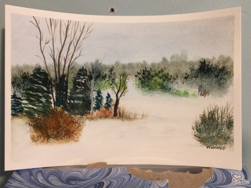 Watercolour painting of winter country landscape