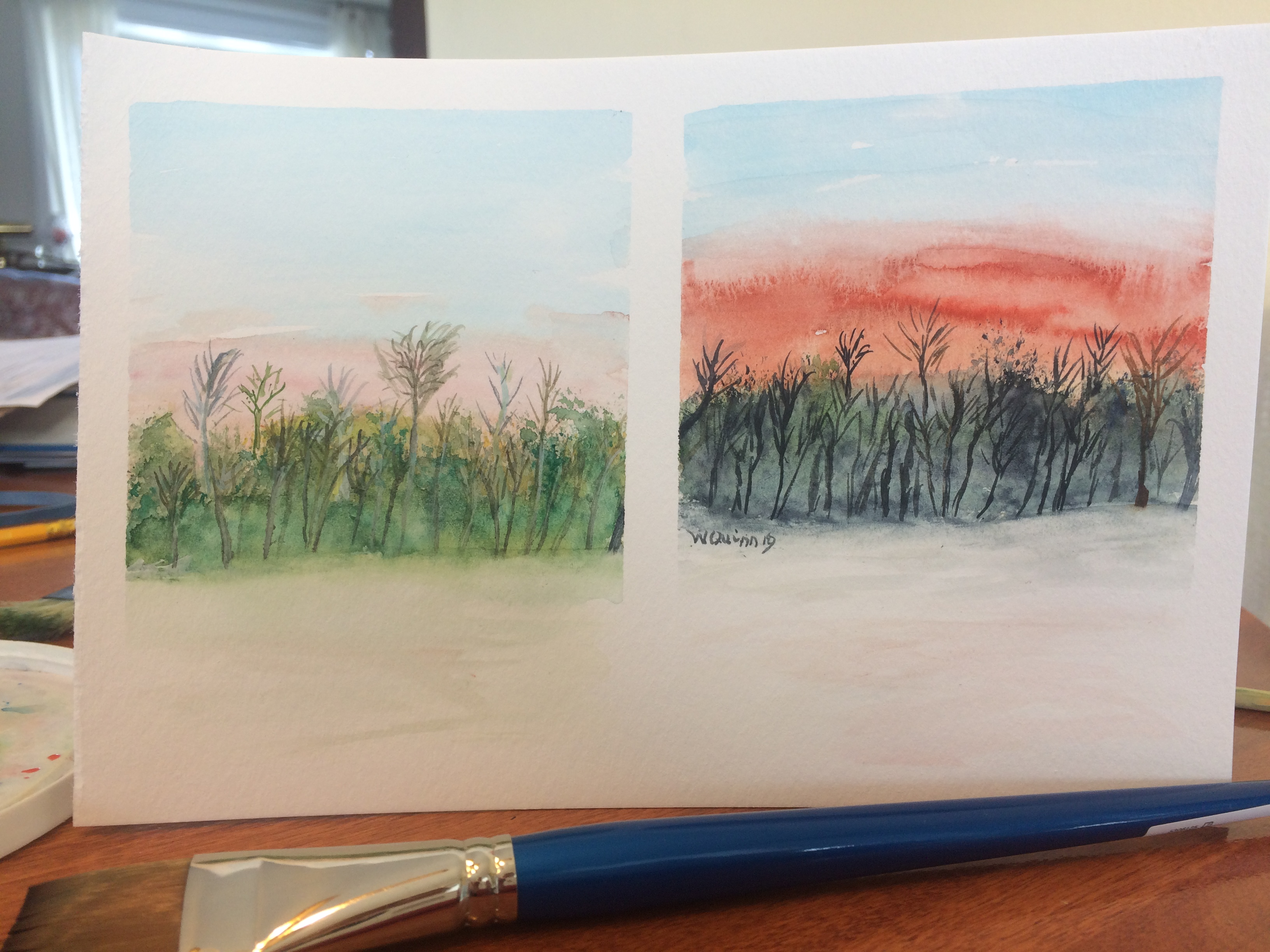 watercolour paintings, one of sunrise with trees and one of sunset with the trees.
