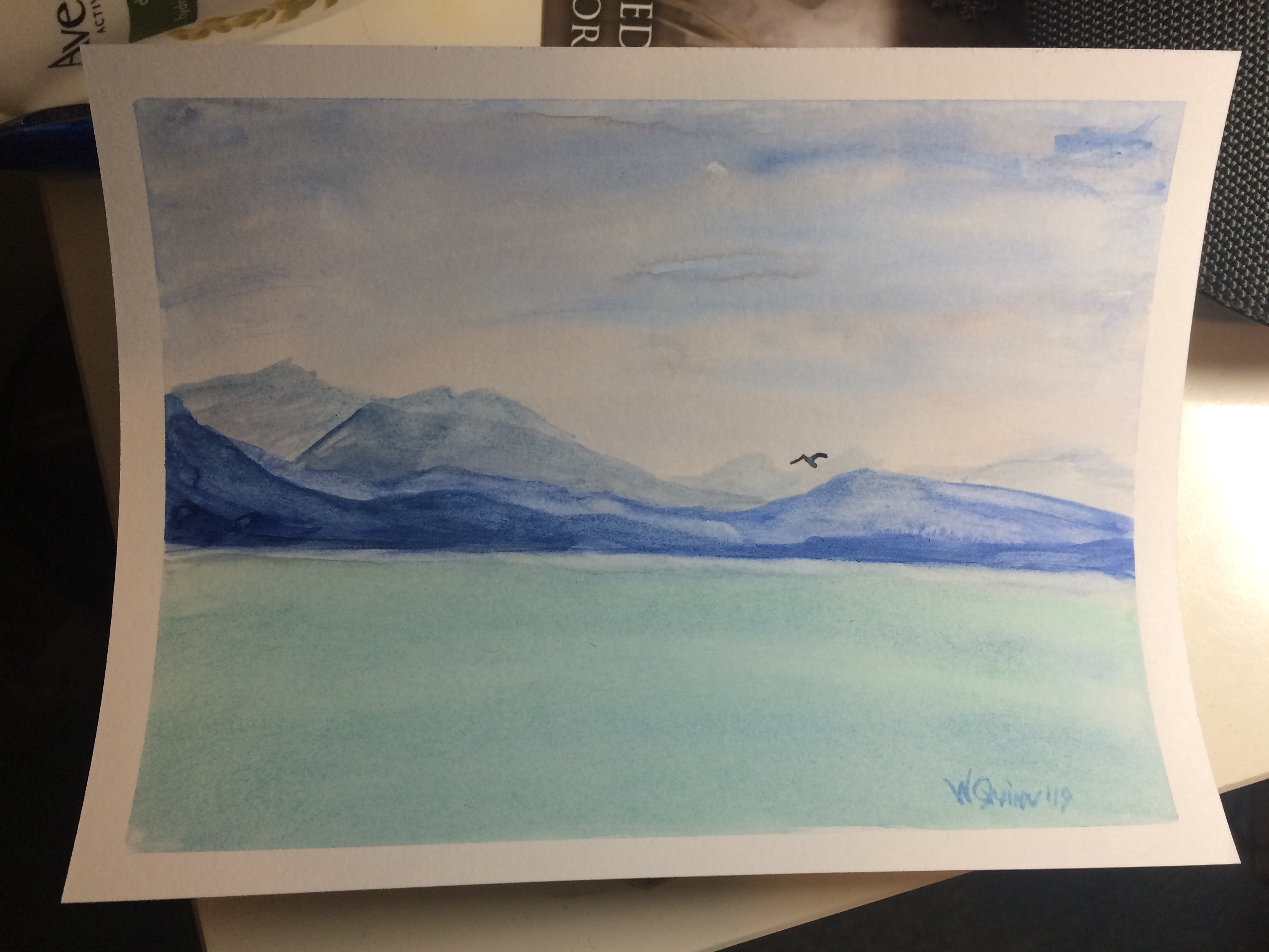 watercolour painting, landscape of corfu, mountains and sea