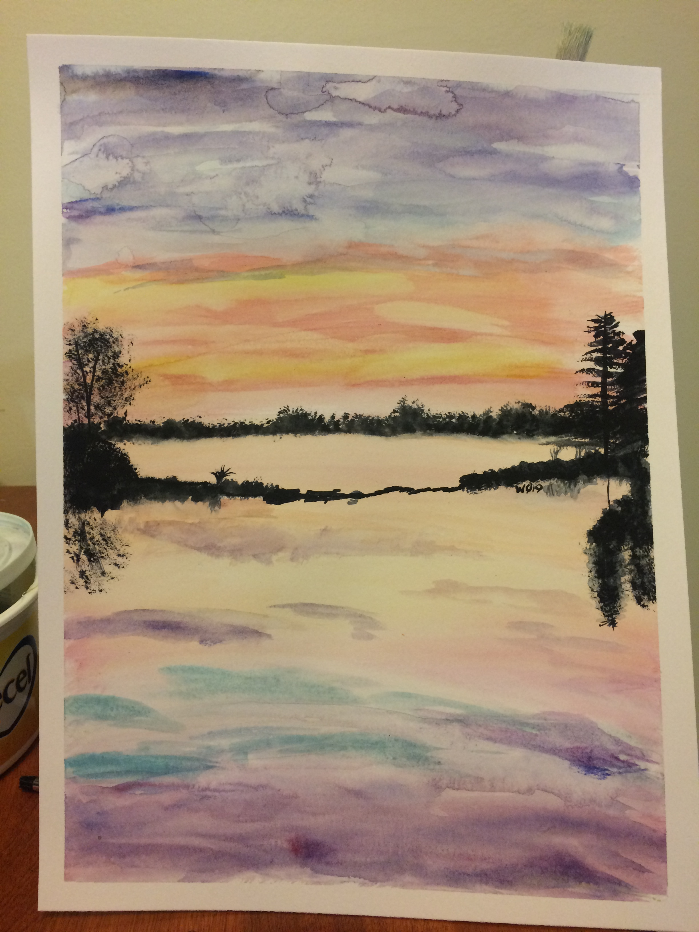 watercolour painting of Ottawa river sunset