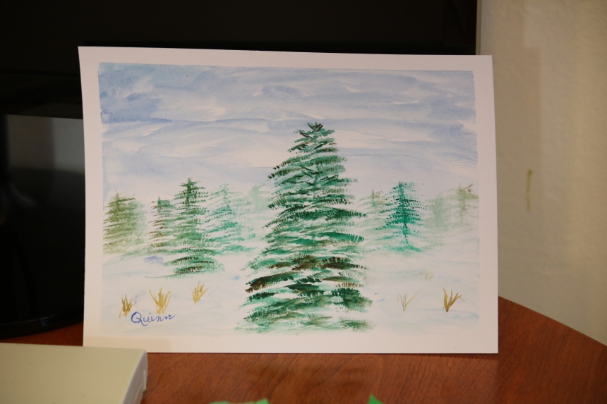 Watercolour painting evergreen trees