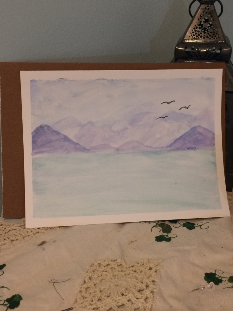 Watercolour painting landscape mountain
