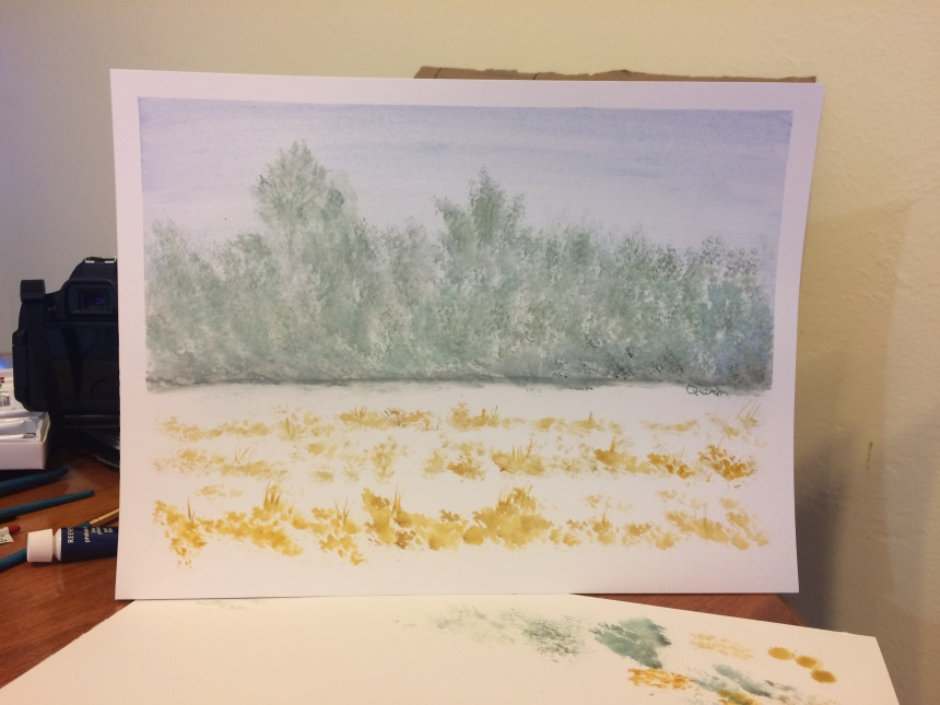 Watercolour landscape trees and corn field in snow