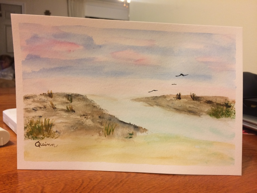 Watercolour sunset or sunrise beach