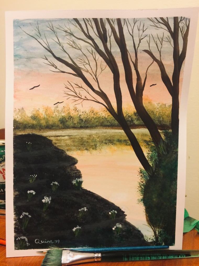 Watercolour painting of sunset