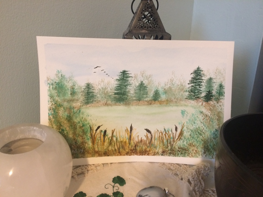 Watercolour trees pond and cattails