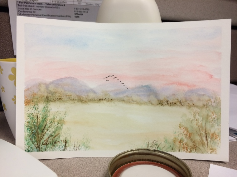 Watercolour painting mountains water