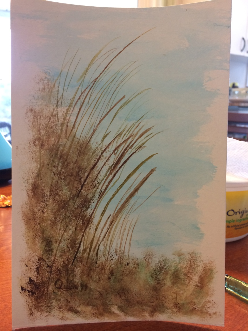 Watercolour painting blue sky with brown reeds.