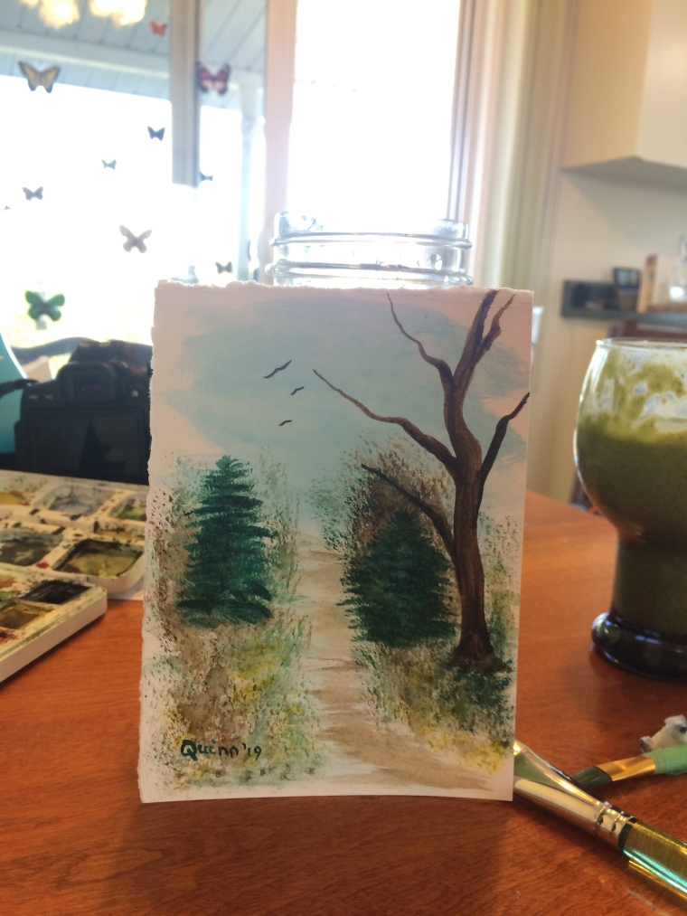 Watercolour painting trees and pathway