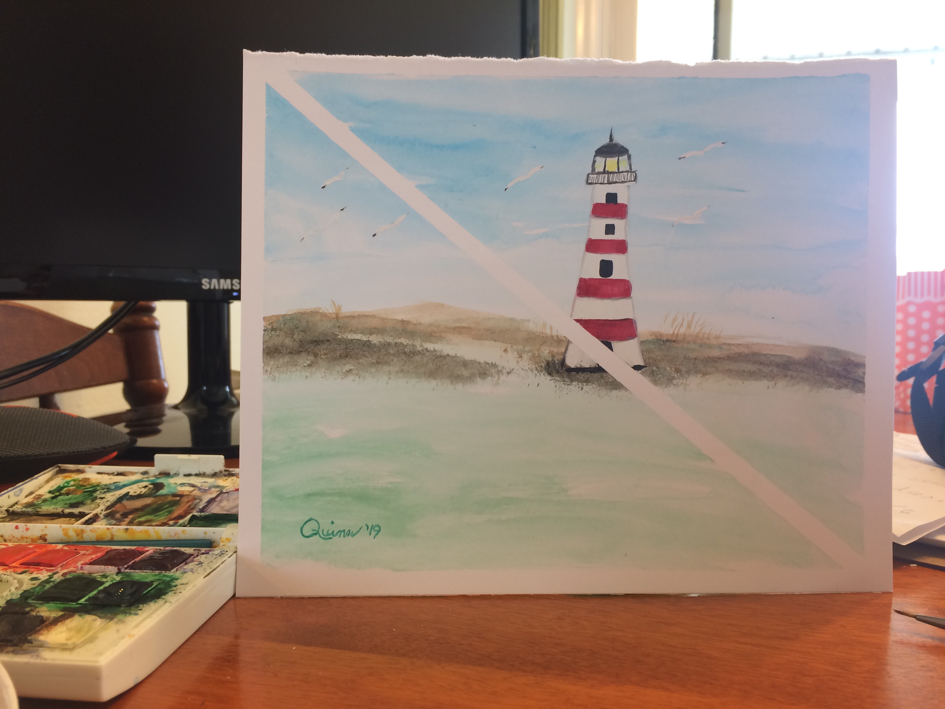 Watercolour painting of lighthouse