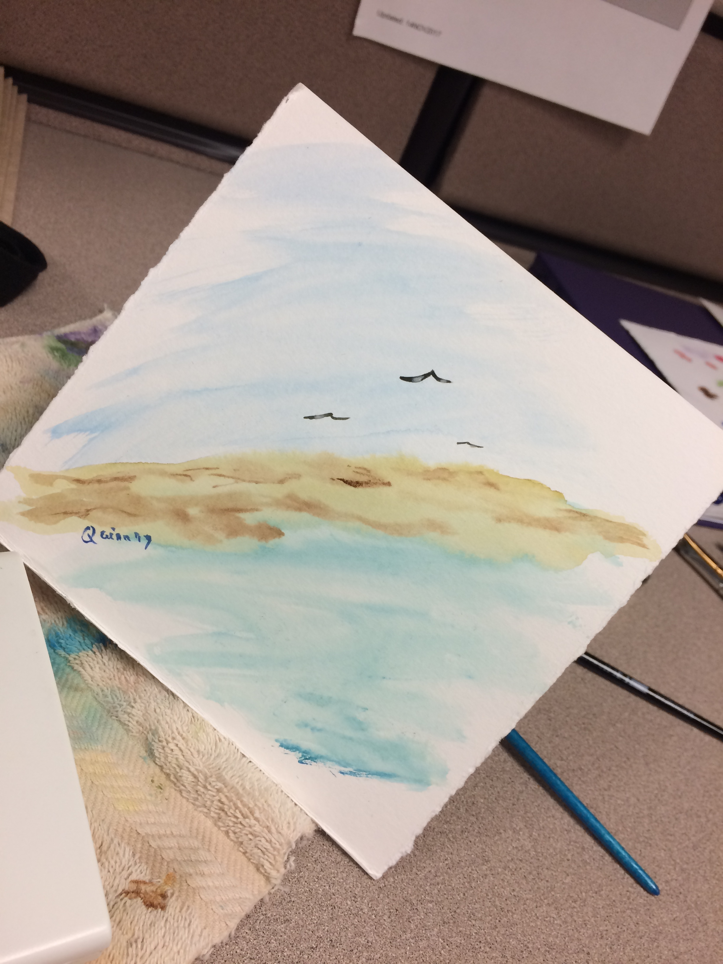 watercolour painting of sky, land, water with three birds flying.