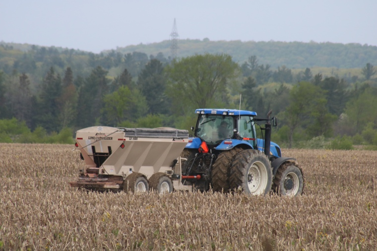 Tractor sowing field