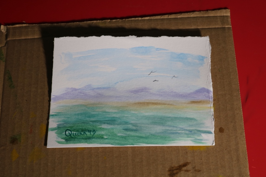 Watercolour painting landscape sky mountains water