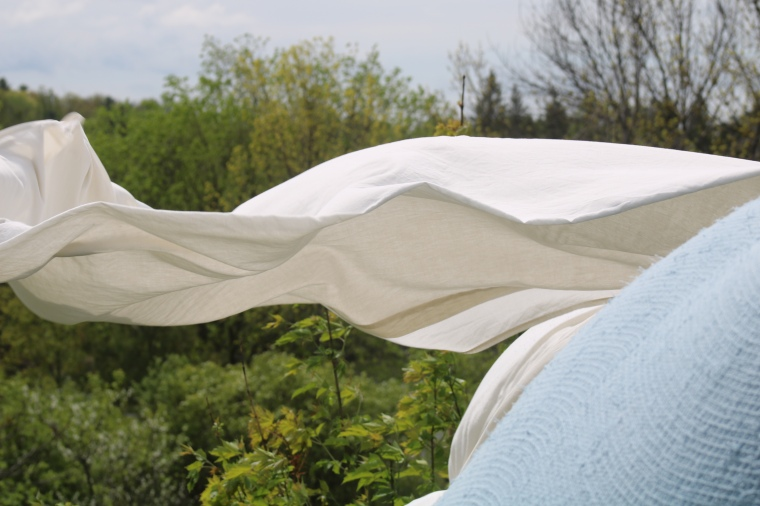 Bed linen on clothes line