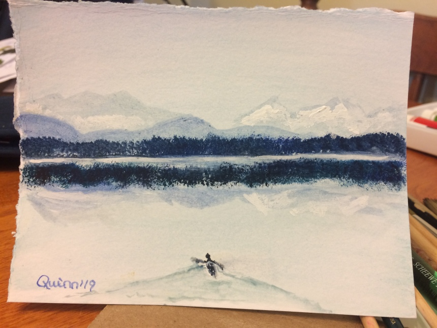 Watercolour painting mountains reflecting in lake with canoe