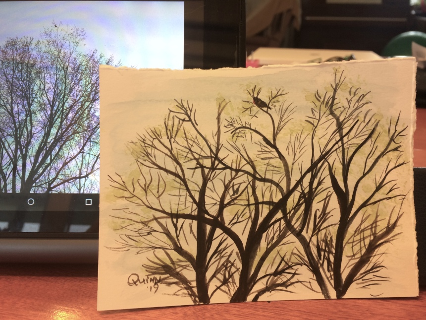 Watercolour painting tree with bird